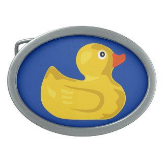Duck in blue pond oval belt buckle