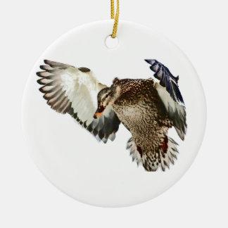 Duck in Flight Ceramic Ornament