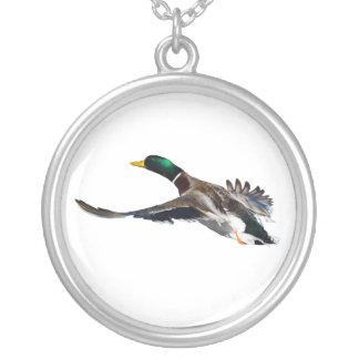 duck in flight round pendant necklace