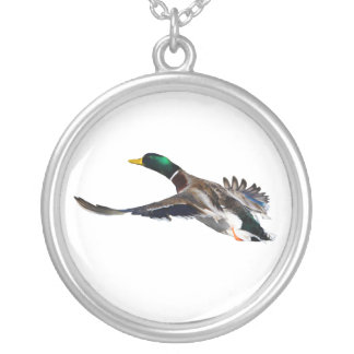 duck in flight silver plated necklace