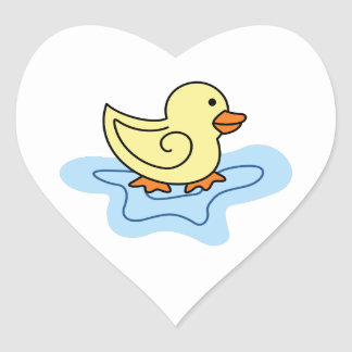 DUCK IN PUDDLE HEART STICKER
