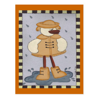 Duck In Rain Post Card