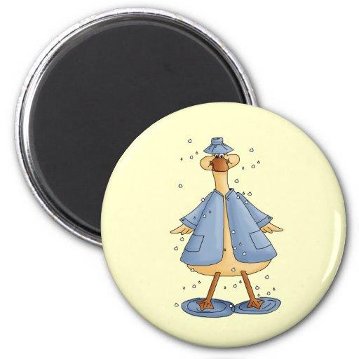 Duck In Raincoat Magnets