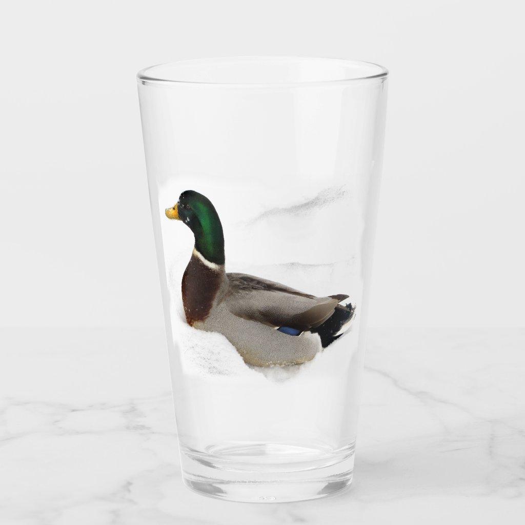 Duck in Snow Animal Glass Tumbler
