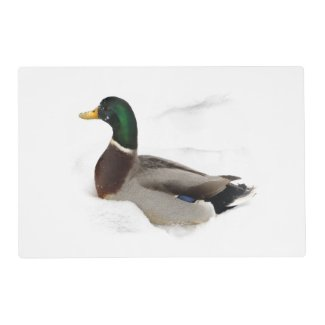 Duck in Snow Laminated Placemat