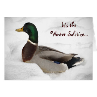 Duck in Snow Winter Solstice Greeting Card