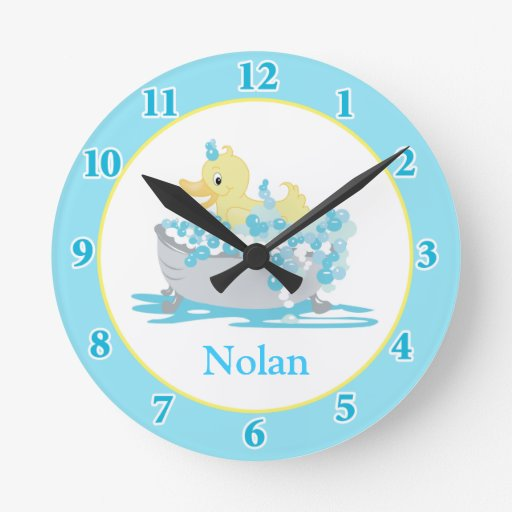Duck in Tub Kids Bathroom Clock - Blue