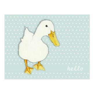 Duck Kiss dots Hello Postcard