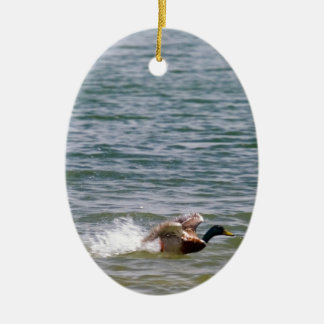 Duck Landing in Water Christmas Tree Ornament