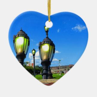 Duck las opiniones de la ventana del viaje de la adorno navideño de cerámica en forma de corazón