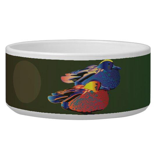 Duck-like birds couple bowl