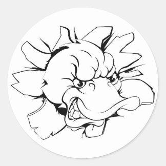 Duck mascot breaking through wall round sticker