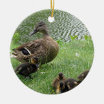 Duck mom and ducklings christmas ornaments
