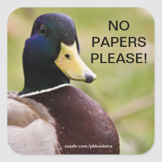 Duck No Papers Please Sticker