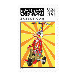 Duck on Bike Tin Toy Stamps