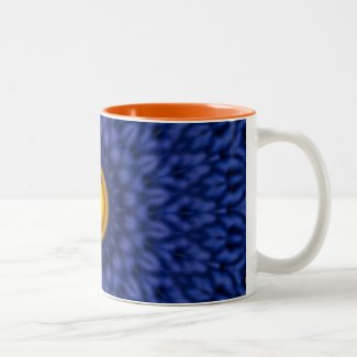 Duck on blue kaleidoscope... Two-Tone Coffee Mug