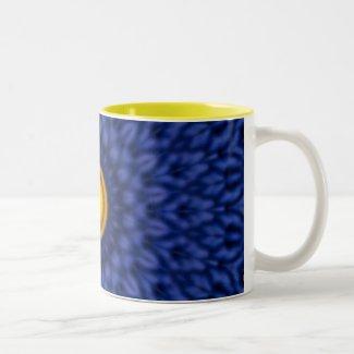 Duck on blue kaleidoscope... Two-Tone Coffee Mug