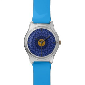 Duck on blue kaleidoscope... wrist watch