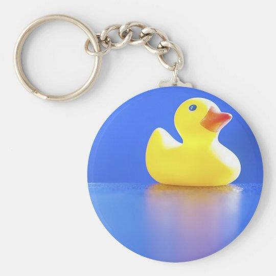 Duck on Blue Keychain