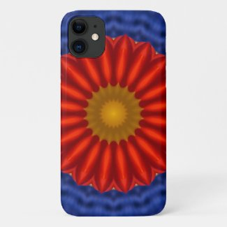 Duck on blue with red kaleidoscope iPhone 11 case