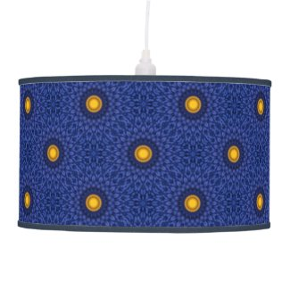 Duck on blue with yellow kaleidoscope ceiling lamp