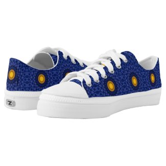Duck on blue with yellow kaleidoscope Low-Top sneakers