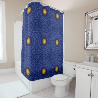 Duck on blue with yellow kaleidoscope shower curtain