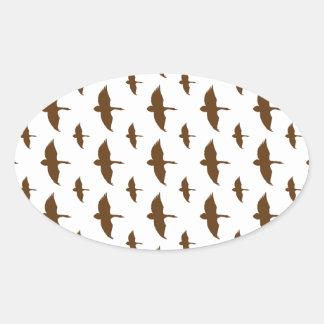 Duck Pattern Transparent Oval Sticker