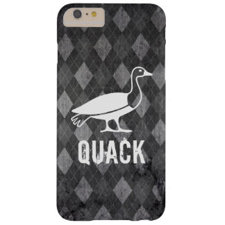 Duck Pictogram on Black Argyle Grunge Barely There iPhone 6 Plus Case