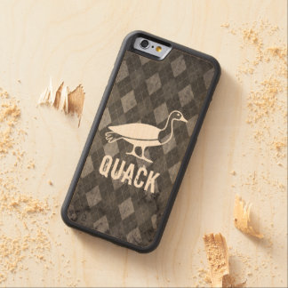 Duck Pictogram on Black Argyle Grunge Carved® Maple iPhone 6 Bumper Case