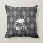 Duck Pictogram on Black Argyle Grunge Throw Pillows