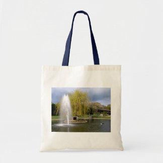 Duck pond in springtime tote bag