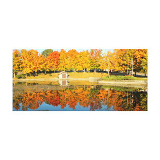 Duck Pond in the Fall Canvas Print