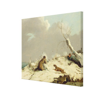 Duck Shooting in Winter (oil on canvas) Canvas Print