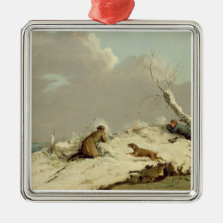Duck Shooting in Winter (oil on canvas) Metal Ornament