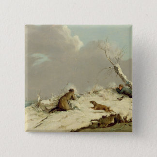 Duck Shooting in Winter (oil on canvas) Pinback Button