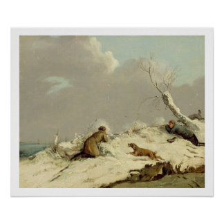 Duck Shooting in Winter (oil on canvas) Poster