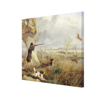 Duck Shooting (oil on canvas) Canvas Print