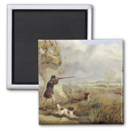 Duck Shooting (oil on canvas) Magnet