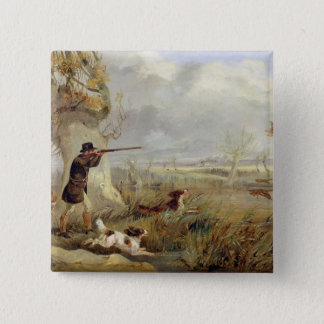 Duck Shooting (oil on canvas) Pinback Button