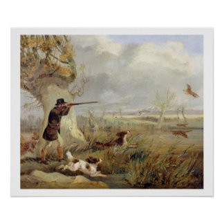 Duck Shooting (oil on canvas) Poster