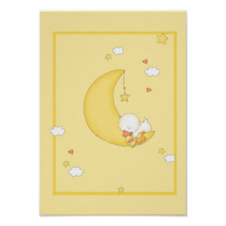 Duck sleeping on Moon Posters