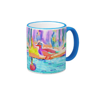 Duck Study Water Color Ringer Mug