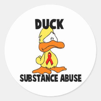 Duck Substance Abuse Round Sticker