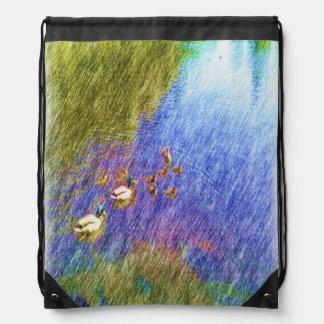duck swiming in a pond cinch bag