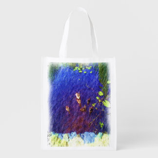 duck swiming in a pond reusable grocery bag