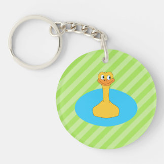Duck Swimming in a Pond. Keychain
