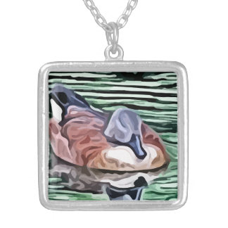 Duck swimming in water painting square pendant necklace