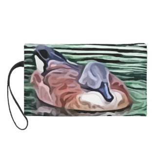 Duck swimming in water painting wristlet purse