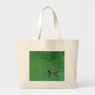 Duck Swimming on Pond Canvas Bag